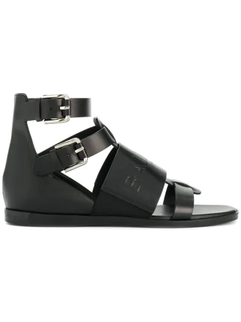 Balmain Black Leather Clothilde Flat Sandals
