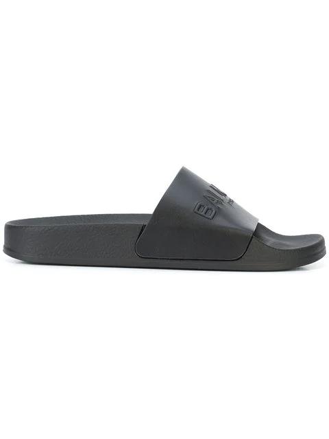 1f12c047 Balmain Calypso Logo-Embossed Leather Slides In Black | ModeSens