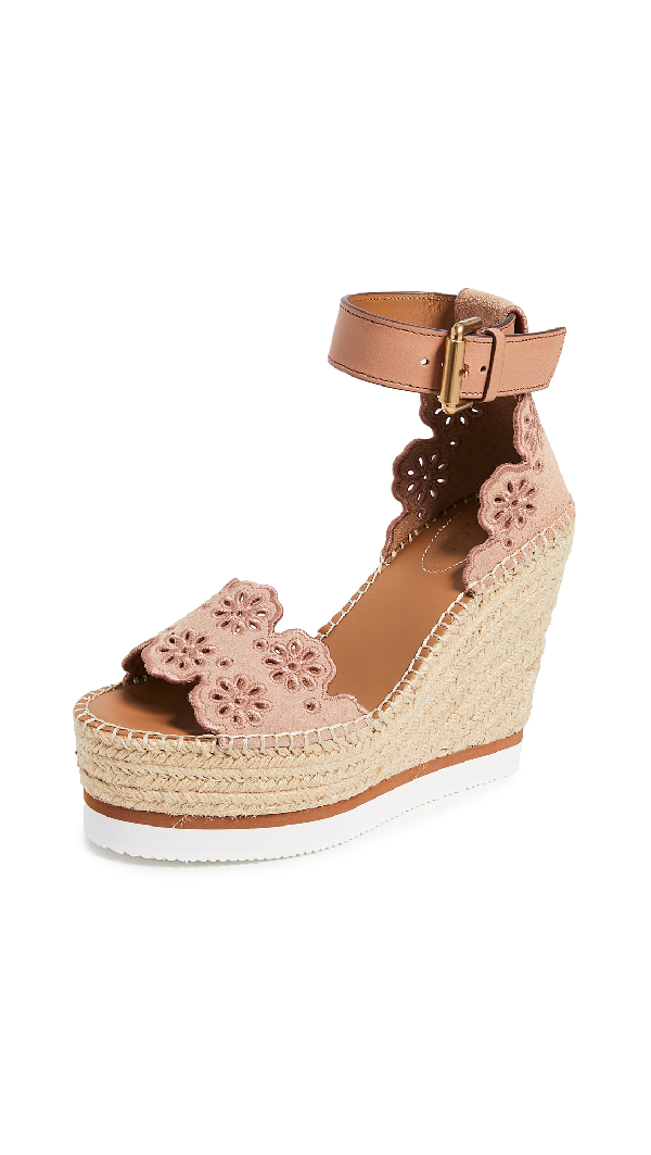 bc74eb461 See By ChloÉ See By Chloe Cutout Suede Espadrille Platform Wedge Sandals In  Cipria & Natural