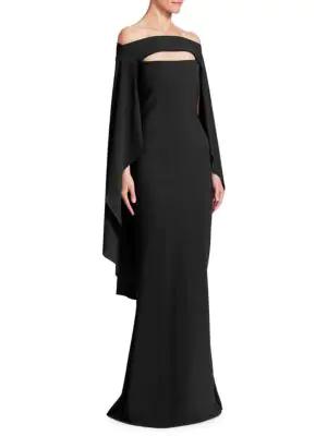 fce6d521 Chiara Boni La Petite Robe Mahima Capelet Mermaid Cutout Gown In Black