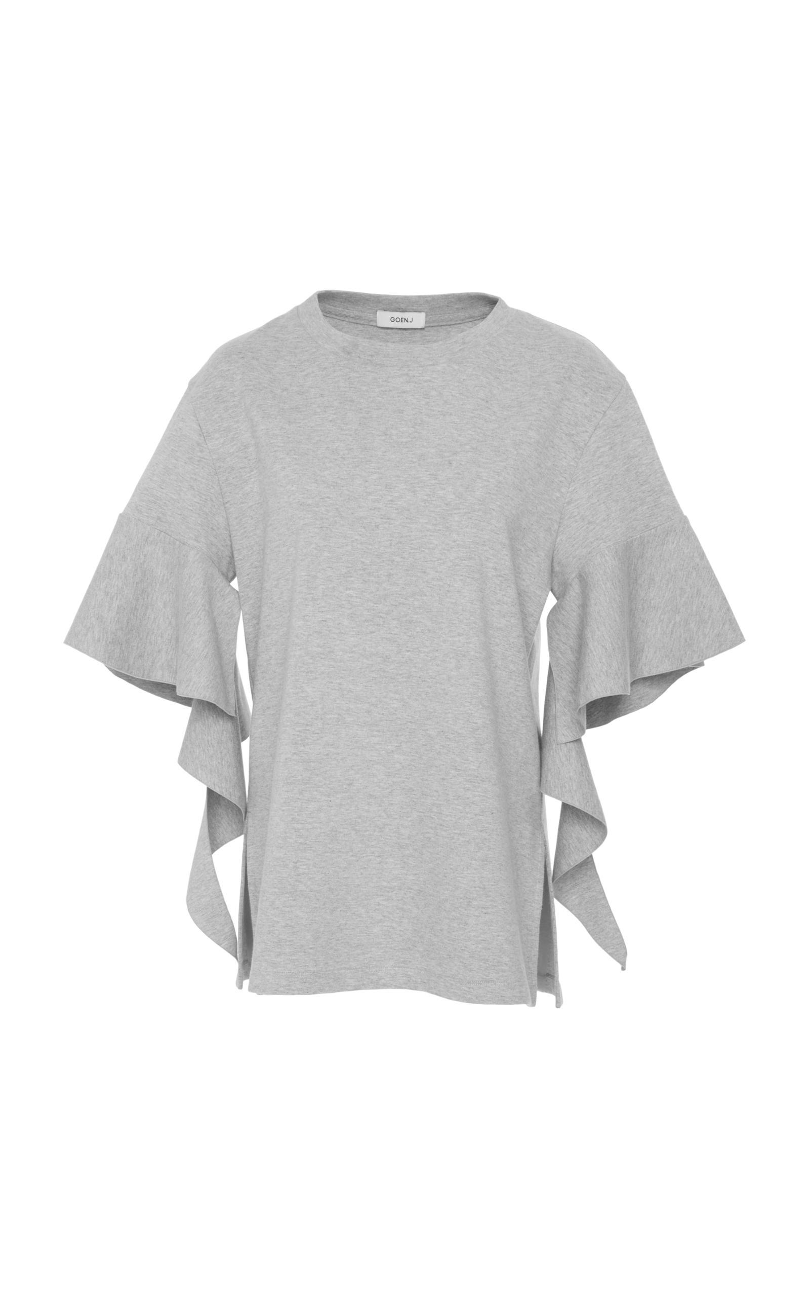 Goen J Cascading Short Sleeved Jersery Top In Grey