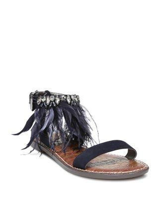 a5c0fe34a744 Sam Edelman Women s Genevia Embellished Suede Ankle Strap Sandals In Navy