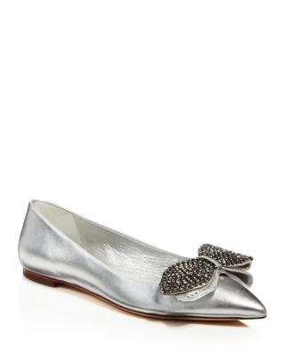 7588c7d2656a24 Tory Burch Women s Rosalind Embellished Metallic Leather Flats In ...