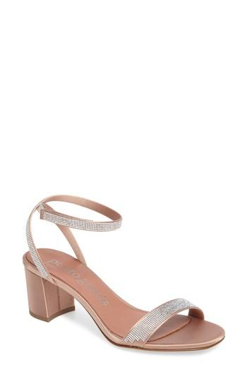 Pedro Garcia Xela Swarovski Crystal Embellished Block-heel Sandals In Bisque Satin