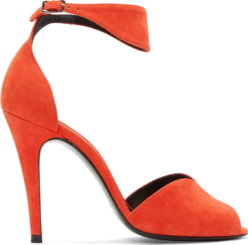 Pierre Hardy Kid Suede Skinissimo Ankle Strap Sandals In Coral