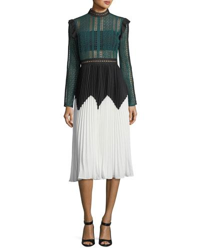 2e8afe2b43be8 Self-Portrait Georgette-Trimmed Guipure Lace And Pleated Crepe Midi ...