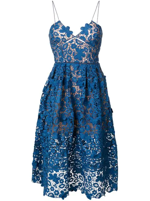 64440f7a3510 Self-Portrait Azaelea 3-D Floral Guipure Lace Midi Dress In Blue. SIZE &  FIT INFORMATION