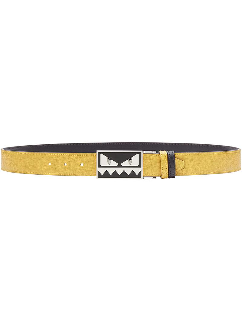 3e4367e57f1 Fendi Reversible Bag Bugs Belt - Yellow