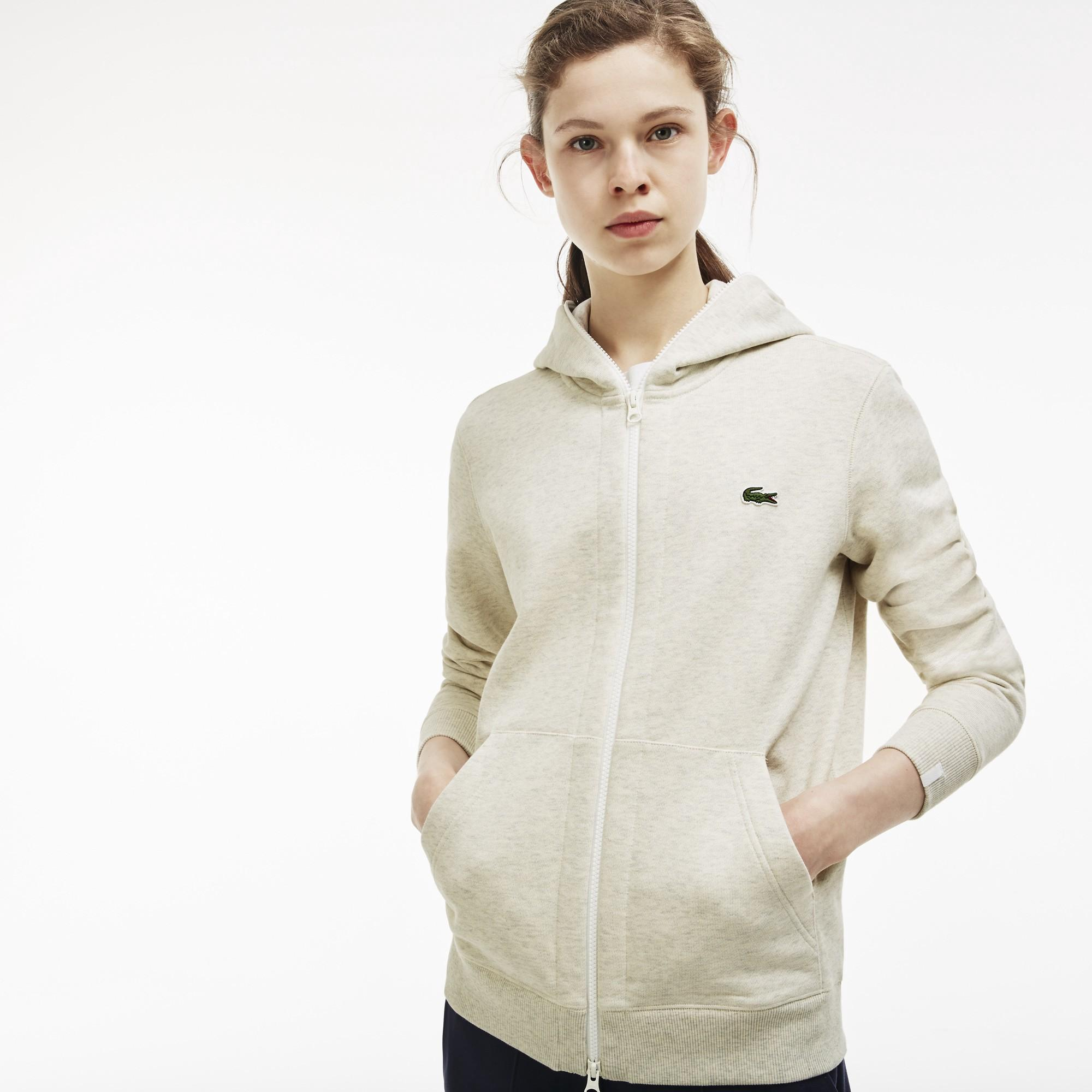 7d58423f5ad60 Lacoste Unisex Live Hooded Zippered Cotton Sweatshirt In Pigeon Grey ...