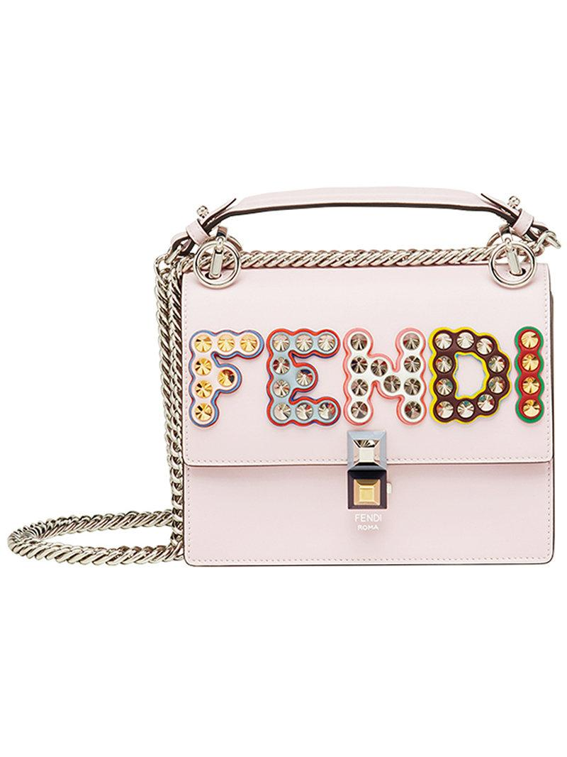 587e4adc40 Fendi Small Kan I Studded Logo Leather Bag In Pink
