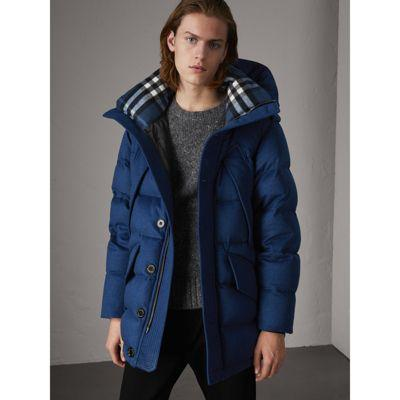 1292ad17b276 Burberry Down-Filled Cashmere Hooded Parka In СИНЕ-ЗЕЛЕНЫЙ МЕЛАНЖ ...