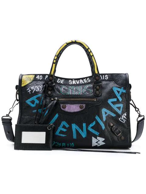 Balenciaga Classic City S Arena Graffiti Small Leather Shoulder Bag In Multi