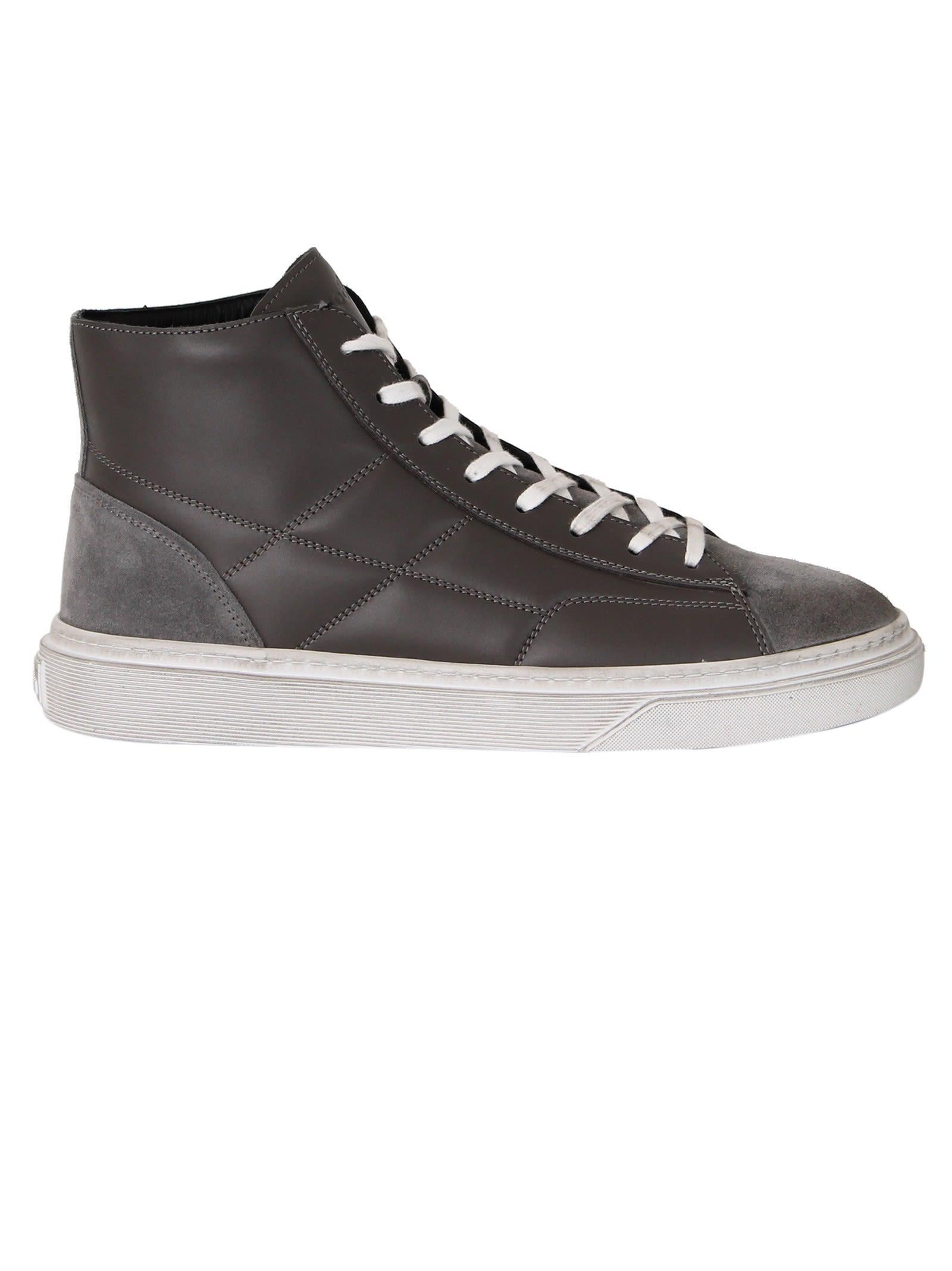Hogan Men's Shoes High Top Leather Trainers Sneakers H340 In Grey ...