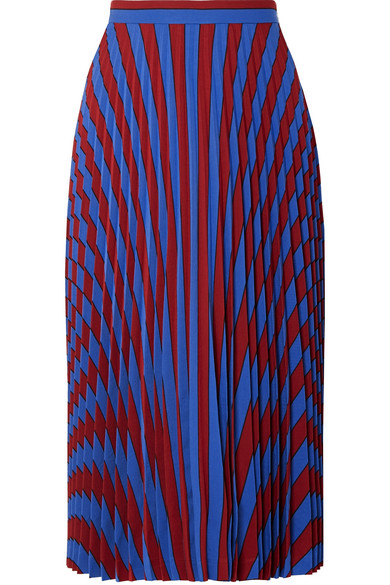 Maison Margiela Pleated Striped Crepe Midi Skirt In Blue