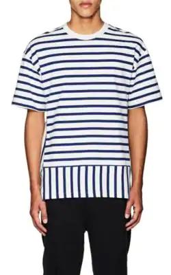 Public School Daryl Short Sleeve Striped Tee In White,Blue