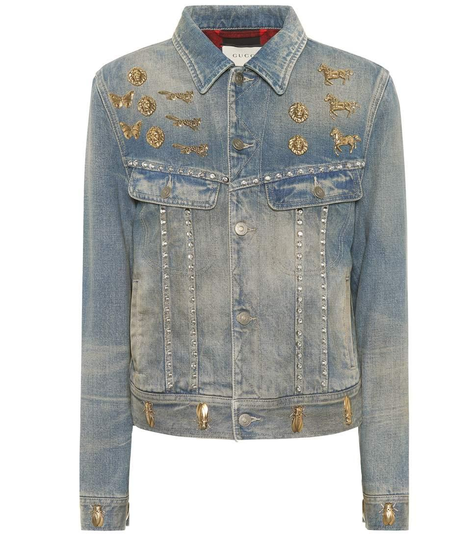 6e71531d2 Gucci Insect Stud Denim Jacket In Blue | ModeSens