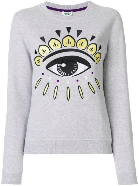 Kenzo Grey Eye-Embroidered Cotton Sweatshirt