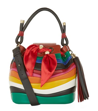 Salvatore Ferragamo Solaria Rainbow-Stripe Tassel Bucket Bag In Rosso 9765ba1caa6a2
