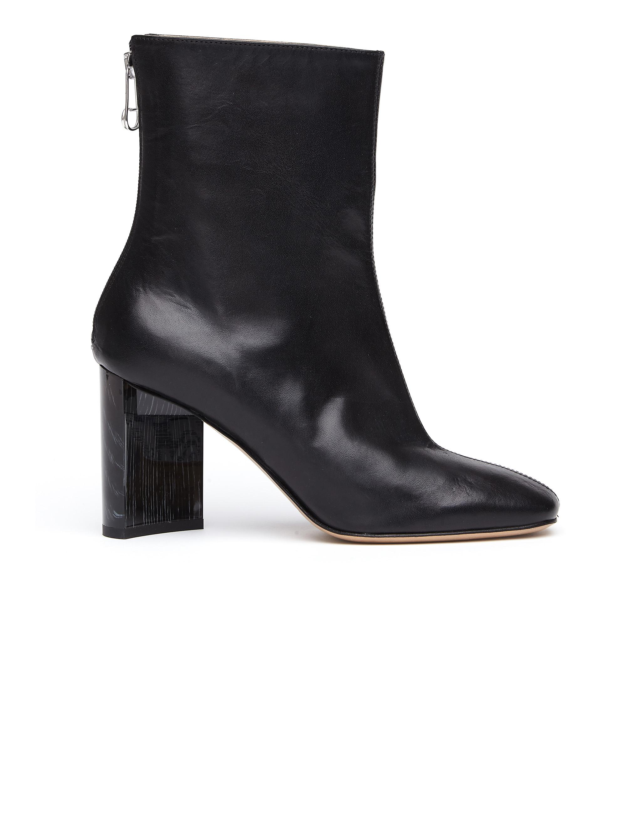 bb3a5512e Maison Margiela 'Cut Heel' Leather Ankle Boots In Black | ModeSens
