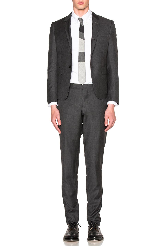 Thom Browne High Armhole Twill Suit In Dark Grey