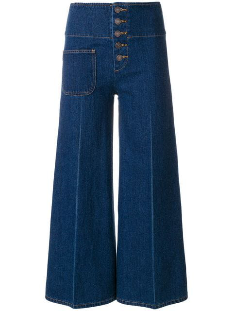 Marc Jacobs High-Waist Wide-Leg Cropped Jeans In Blue