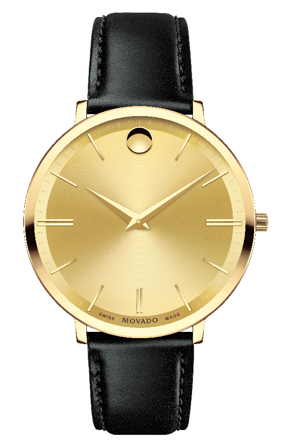 Movado 'Ultra Slim' Leather Strap Watch, 40Mm In Gold/Black/Gold
