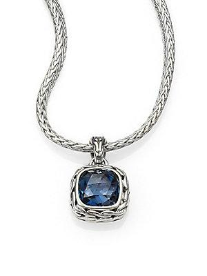 John Hardy Classic Chain Sterling Silver Small Square Pendant Necklace In Blue