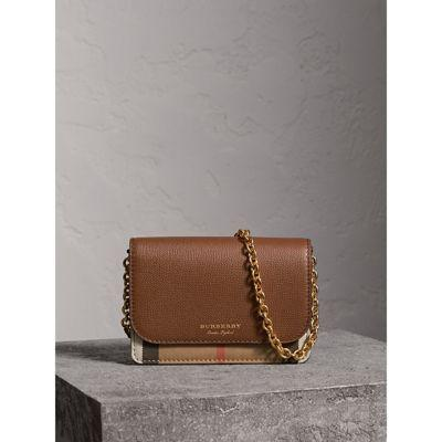 3f8564356333 Burberry Leather And House Check Wallet With Detachable Strap In Tan ...