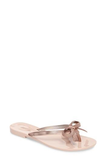 aa51c3570a8d31 Melissa Harmonic Chrome Ii Jelly Thong Sandals In Rose Gold