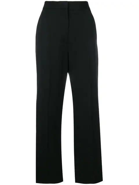 Stella Mccartney - Satin Striped Wide Leg Wool Trousers - Womens - Black