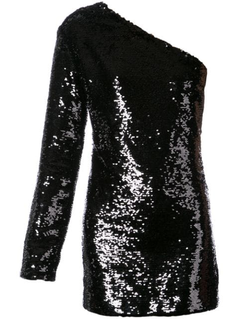 Rta Edie One-Shoulder Sequined Mini Cocktail Dress In Black