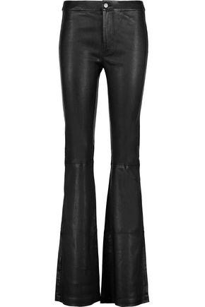 J Brand Vivia Stretch-leather Flared Pants In Black