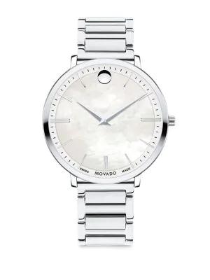 Movado Ultra Slim Stainless Steel Bracelet Watch In Silver
