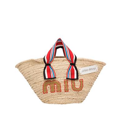13af2560ef5 Miu Miu Paglia Straw Top Handle Tote - Beige In Cream Multi