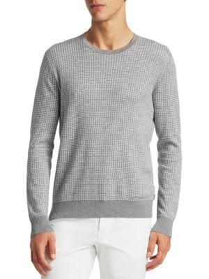 Michael Kors Square Jacquard Sweater In Heather Grey