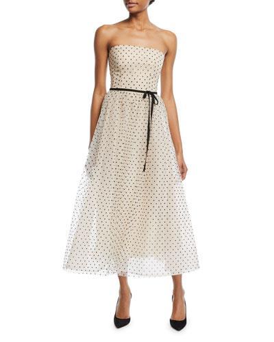 a28867222ecaf Monique Lhuillier Strapless Swiss Dot Midi Gown In White/Black ...
