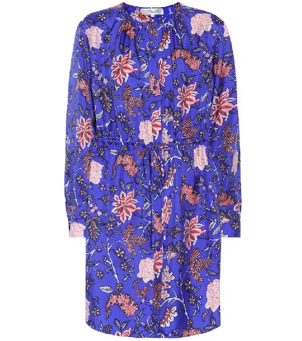 a35bb34679a0b9 Diane Von Furstenberg Long-Sleeve Cinched Waist Floral-Print Shirtdress In  Bright Blue
