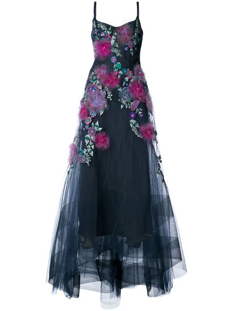 Marchesa Notte Corseted High Low Gown With Feather Embroidery In Navy