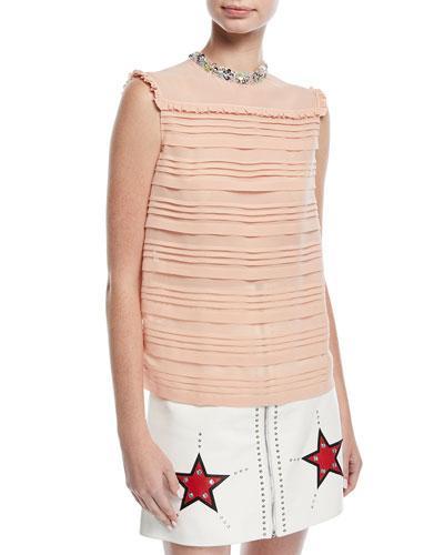 Miu Miu Sleeveless Embellished Silk Georgette Top In Pink