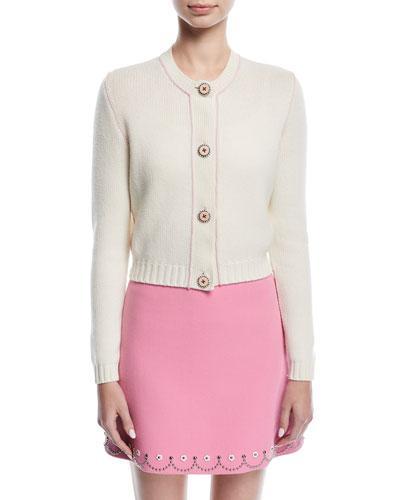 d3e30c4f9059 Miu Miu Embellished-Button Cashmere Cardigan In White