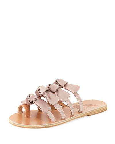 54c74b3d8a6f Ancient Greek Sandals Hara Bow-Embellished Satin Slides In Colour May Fade  With Exposure To