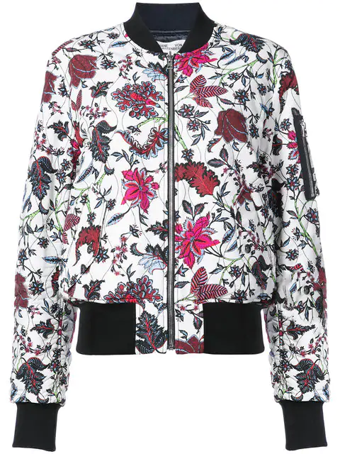 585835eb1 Woman Floral-Print Faille Bomber Jacket Off-White