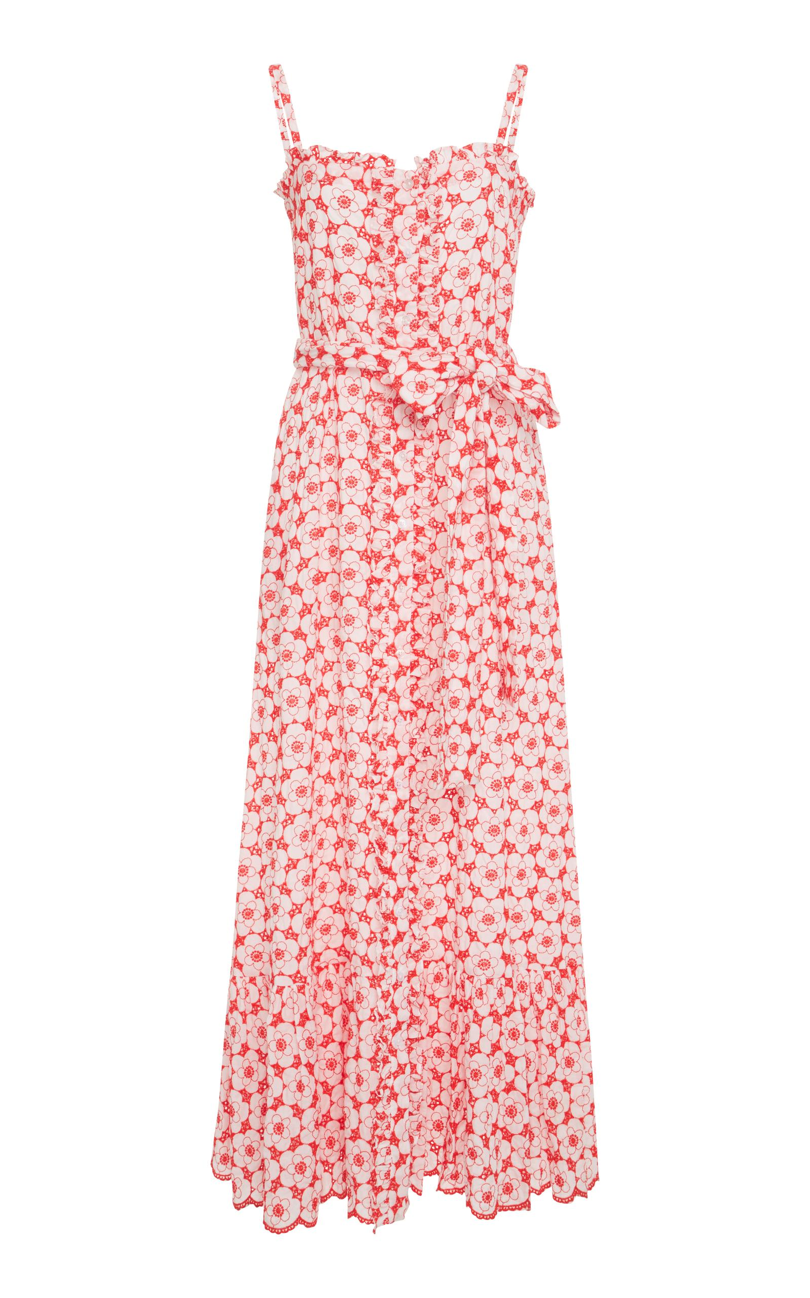 53b52b077c Lisa Marie Fernandez Floral-Embroidered Cotton Midi Dress In Cream Multi