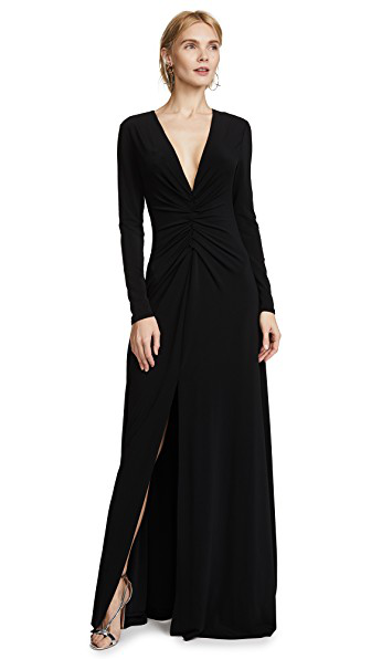 ebc8bd59e312 Halston Heritage Ruched V-Neck Long-Sleeve Gown In Black | ModeSens