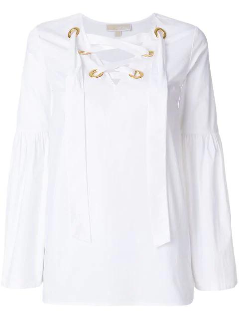 31455b6b88 Michael Michael Kors Grommet Lace-Up Poplin Top