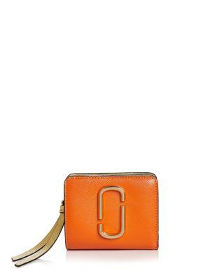 Marc Jacobs Snapshot Mini Leather Wallet In New Orange Multi/gold