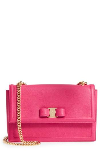 Salvatore Ferragamo Ginny Medium Vara Leather Flap Bag In Pink