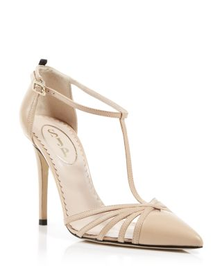 Sjp By Sarah Jessica Parker Carrie Shimmery T-Strap 70Mm Pump, Leopard Fabric In Nude