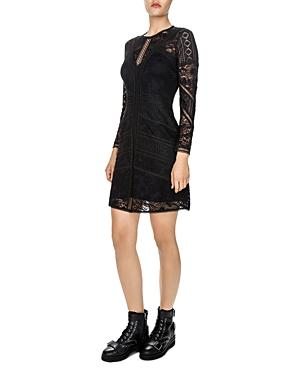 The Kooples Lace A-Line Dress In Black
