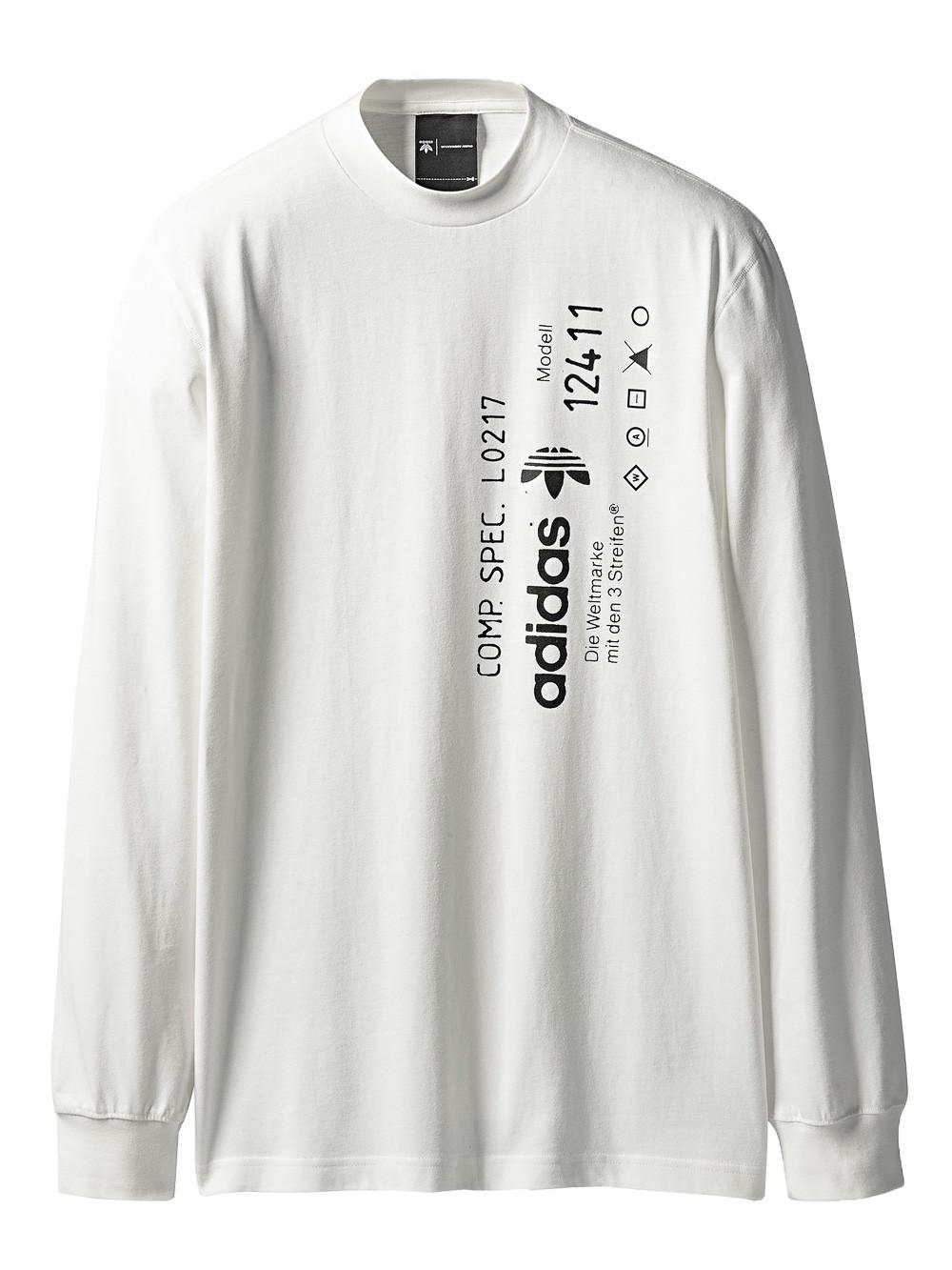a87dc3cb8dd7 Adidas Originals By Alexander Wang Printed Jersey Long Sleeve T-Shirt In  White
